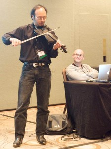 Howard Chu with Johan Andersson at MySQL User Conference 2009