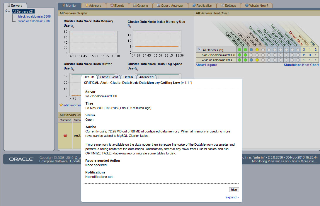 Monitoring MySQL Cluster with MySQL Enterprise Monitor
