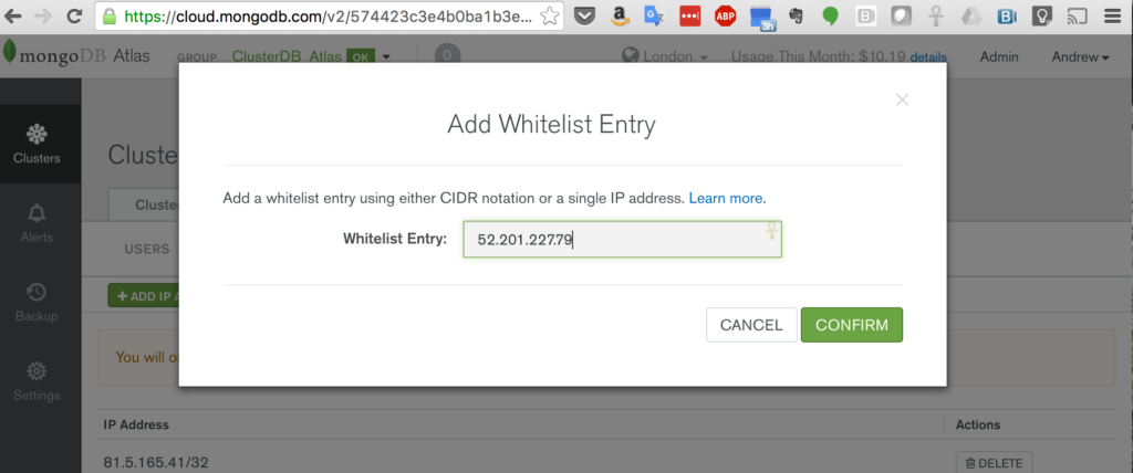 Add MongoPop IP Address to MongoDB Atlas Group Whitelist