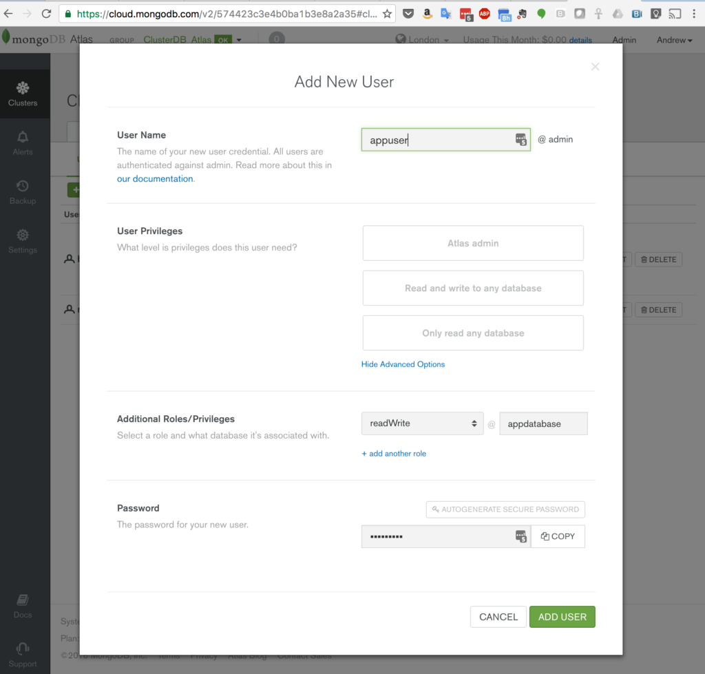 Creating an Application user in MongoDB Atlas