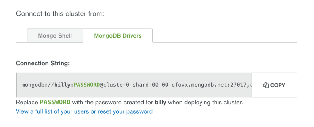 Find the Node.js Driver Connect String in MongoDB Atlas