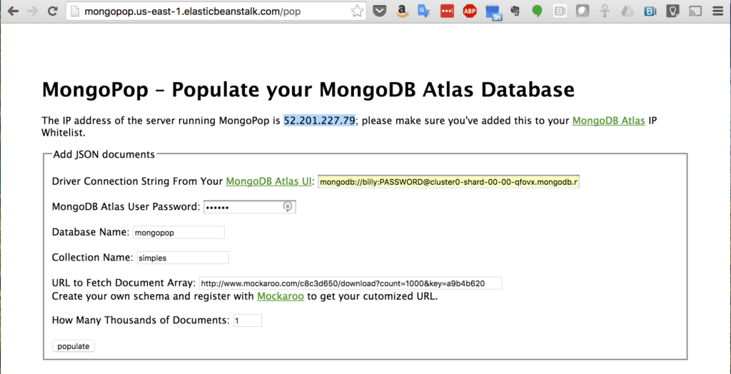 Identify IP Address of MongoPop Server for MongoDB Atlas IP Whitelisting