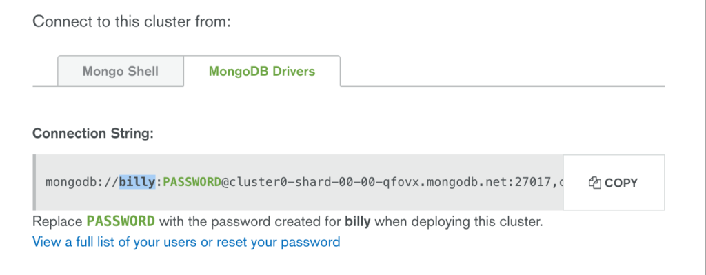 Copy MongoDB Atlas Connection String/URI