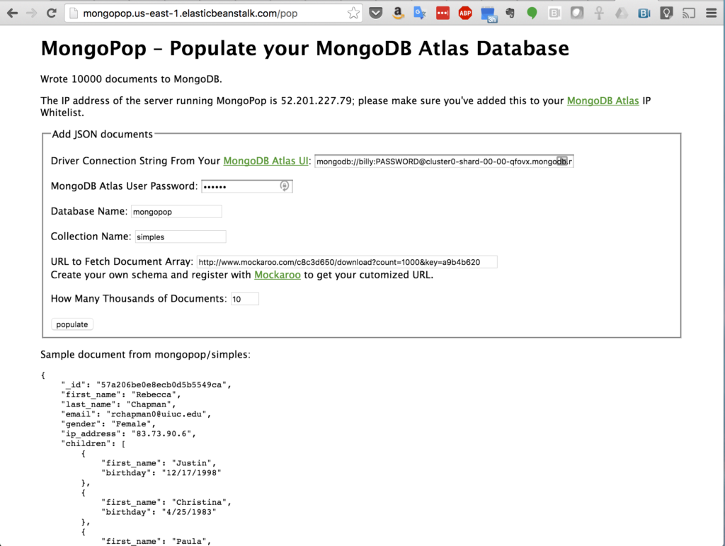 Sample of Data Added to MongoDB Atlas Collection