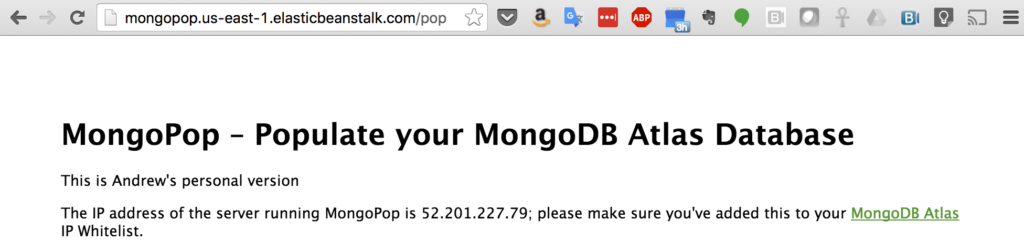 Personalized Version of MongoPop Deployed to AWS EBS