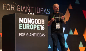 Andrew Morgan presenting on Microservices at MongoDB Europe 2016