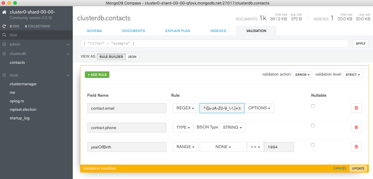 Add new document validation rule through MongoDB Compass