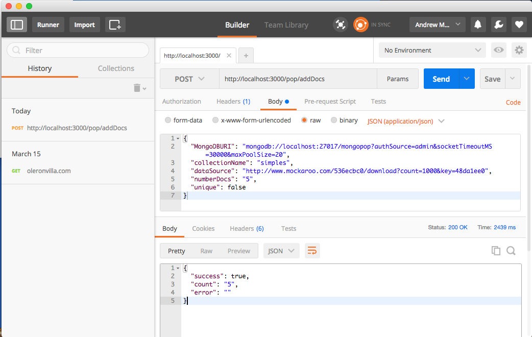 Testing MongoDB Mongopop REST API with Postman Chrome app