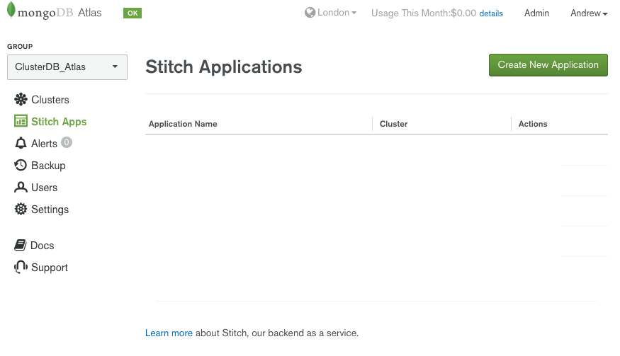 Create new MongoDB Stitch application