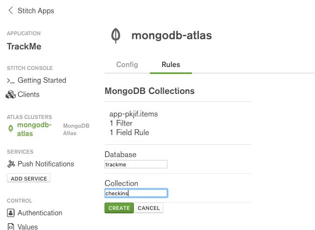 MongoDB Stitch – naming a collection