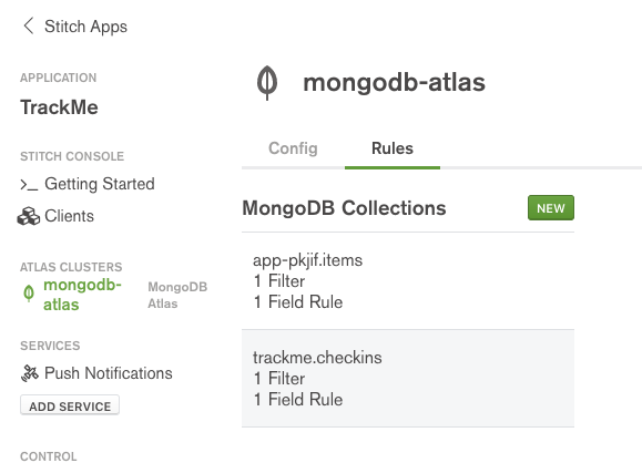 MongoDB Stitch - select collection