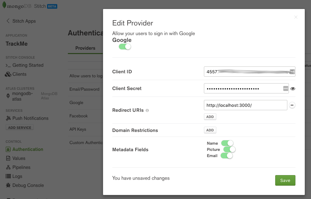 MongoDB Stitch BaaS – adding Google authentication