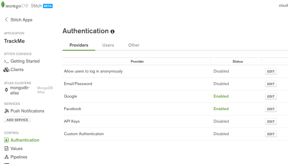 MongoDB Stitch BaaS authentication providers
