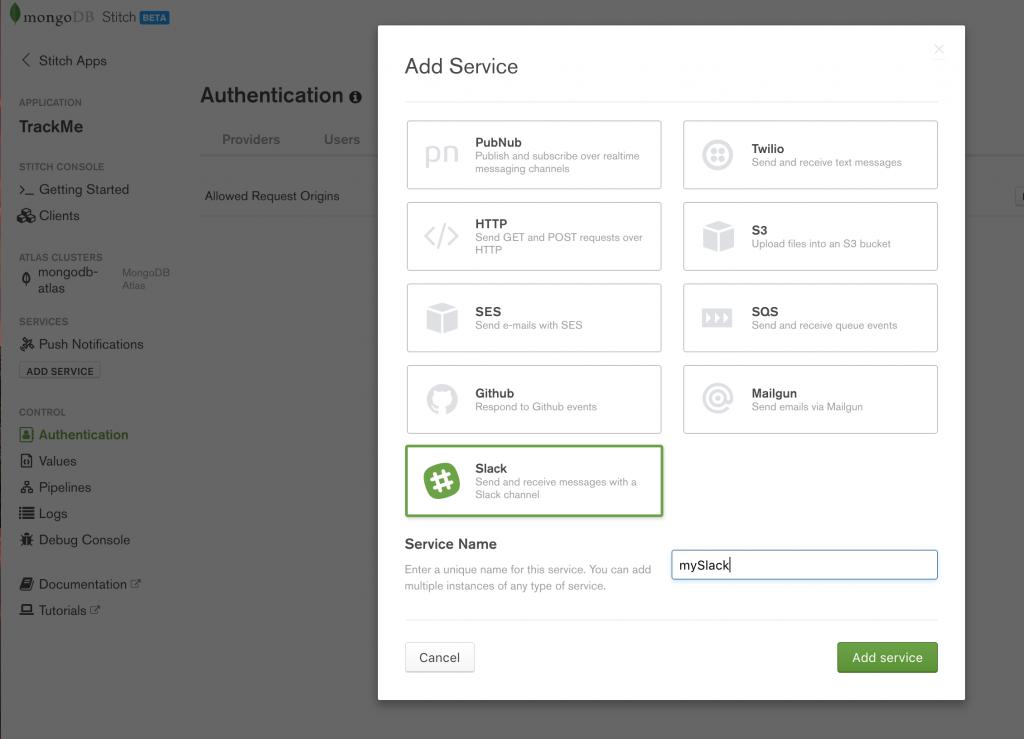 MongoDB Stitch, adding Slack service