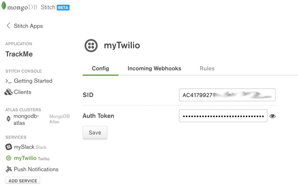 MongoDB Stitch, configuring Twilio service