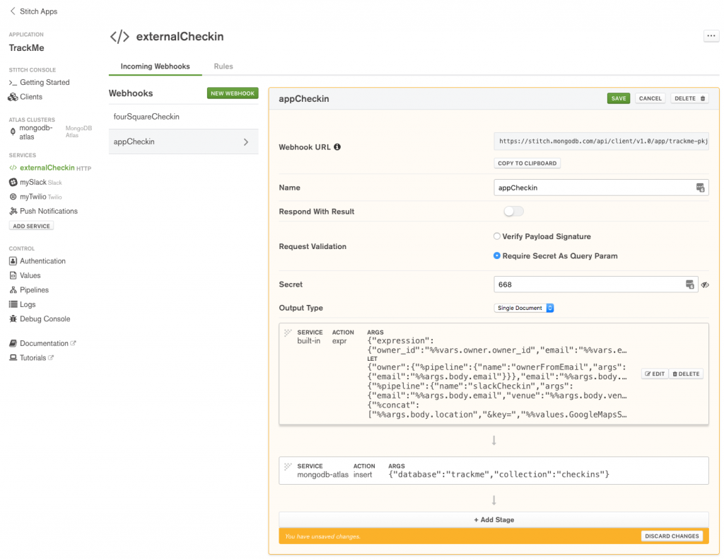 Define appCheckin WebHook in MongoDB Stitch