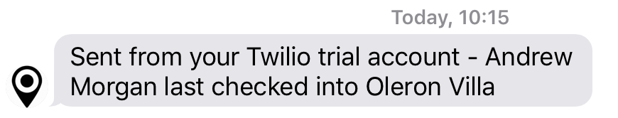 Text message from Twilio – via MongoDB Stitch